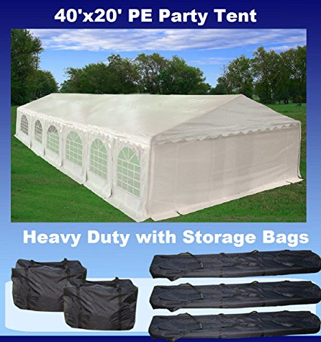 40'x20' PE Party Tent White - Heavy Duty Wedding Canopy Carport Shelter - with Storage Bags - By DELTA Canopies by DELTA Canopies