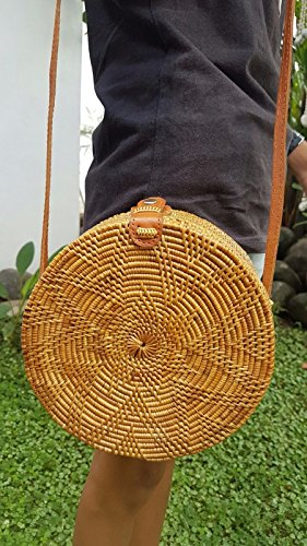 US Crossbody Circle Rattan Bali Shoulder Straw Bag Handbag Handwoven Basket Round Starfish ATA Tan SELLER Uxw8Pq4Yg