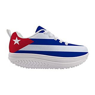 Owaheson Swing Platform Toning Fitness Casual Walking Shoes Wedge Sneaker Women Cuba Flag