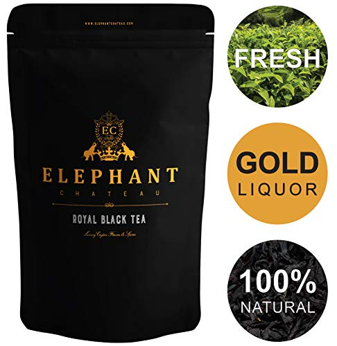 Flowery Ceylon Black Tea | 50 Cups | Delicious High Elevation Organic Nuwera Eliya Tea | Tasty Plain & Without Sugar | English Breakfast | Bulk Natural Leaves | Aromatic Liquor | Elephant Chateau