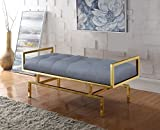 Iconic Home Bruno PU Leather Modern Contemporary Tufted Seating Goldtone Metal Leg Bench, Grey