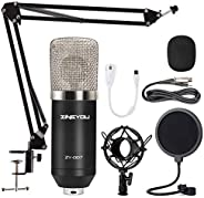ZINGYOU Condenser Microphone, ZY-007 Professional Cardioid Computer Mic Set for Studio Recording and Broadcast