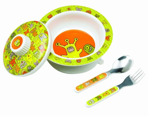 Sugarbooger Covered Suction Bowl Gift Set, Hungry Monsters
