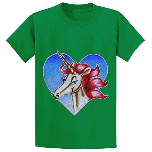 Unicorn Unicorn In Heart Child Cute Crew Neck Shirts Green