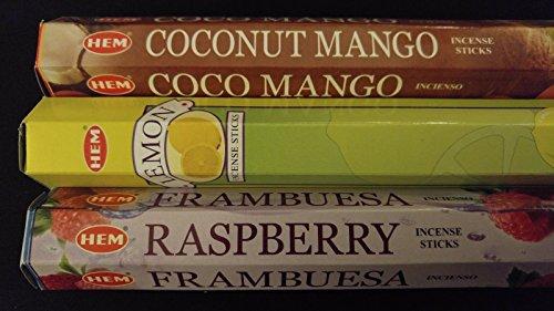 Coconut Mango Lemon Raspberry 60 HEM Incense Sticks 3 Scent Sampler Gift Set