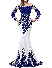 Womens Long Sleeve Evening Dress Mermaid Lace Formal Dresses Prom Gowns