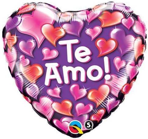 Qualatex Foil Balloon 010602 Te Amo Shiny Hearts Purple 18 Multicolor