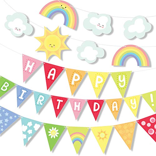 Big Rainbow Clouds Happy Birthday Banner Party Set