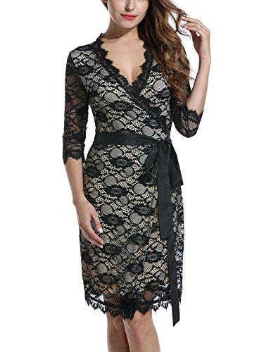 ANGVNS Wrap Dress Long Sleeve Winter Formal Wrap Evening Dress,Medium,Apricot