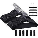 Premium Velvet Hangers/Suit Hangers Heavy Duty(30 Pack) - Non Slip & Space-Saving Clothes Hangers with 6 Finger Clips & Tie Rack Excellent for Men and Women(Black)