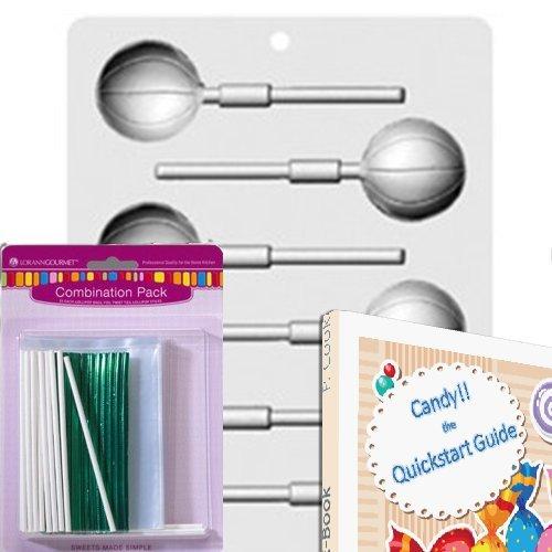 Hard Basketball - Lorann Lollipop Hard Candy/Chocolate Mold Bundle - Includes Quick Start Guide +25 Lollipop Bags + 25 Twist Ties + 25 Lollipop Sticks + 1 Mold Sheet (Basketball)