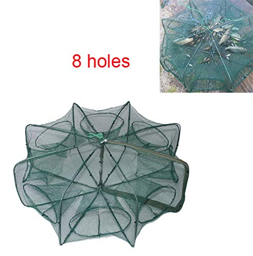(LikeFish Portable Folded Fishing Net Collapsible Net Trap Cast Dip Cage Automatic for Fish Shrimp Minnow Crayfish Crab Baits (8 Holes))