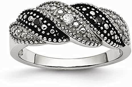 Chisel Stainless Steel Black and Clear Simulated CZ Ring