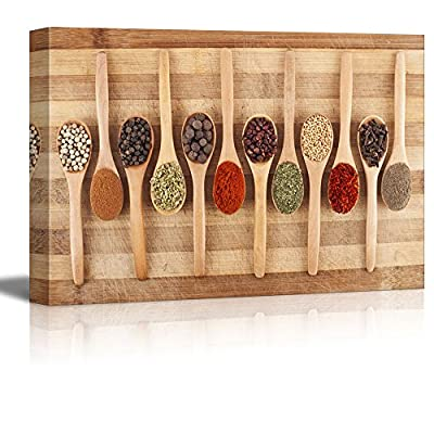 Various Spices on Wooden Spoons on Cutting Board Wall Decor Wood Framed, Original Creation, Grand Print