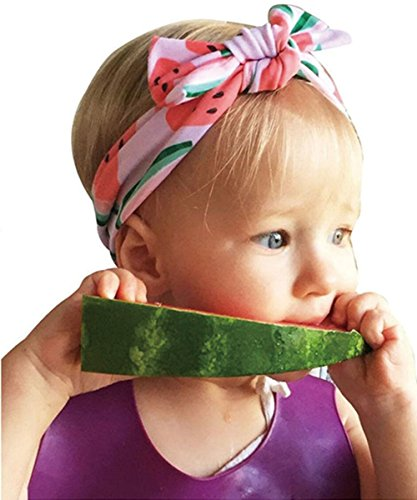 Colorfog Baby Headbands Turban Knotted, Girl's Hairbands for Newborn,Toddler and Children (Watermelon) ()