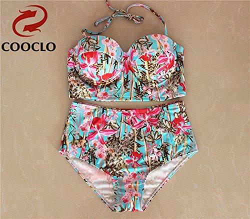 YONGYI Europa y el elegante y Lomo superior de playa en verano, traje de baño bikini occidental partículas de dos pedazo de lomo Split-Top swimsuit Bikini Bamboo