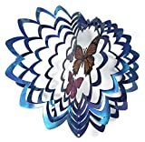 WorldaWhirl Whirligig 3D Wind Spinner Hand Painted Stainless Steel Twister Butterfly (12'' Inch, Multi Color Blue Silver)