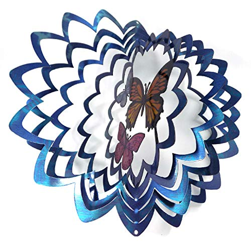 WorldaWhirl Whirligig 3D Wind Spinner Hand Painted Stainless Steel Twister Butterfly (12'' Inch, Multi Color Blue Silver) by WorldaWhirl