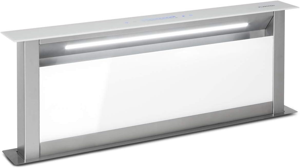 Klarstein Royal Flush Eco 90 Extractor de humos extraíble - 60 cm, clase A+, se guarda en la mesa, extracciones: 458 m³/h, panel deslizante, tiras LED, control táctil, extracción y ventilación, blanco