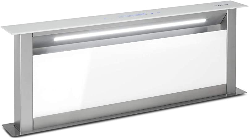 Klarstein Royal Flush Eco 90 Extractor de humos extraíble - 60 cm, clase A+, se guarda en la mesa, extracciones: 458 m³/h, panel deslizante, tiras LED, control táctil, extracción y ventilación, blanco: