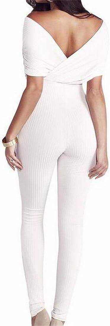 Happy Time-Women Deep V Neck Short Sleeve Bodycon Cocktail Jumpsuit Romper Pants White US S