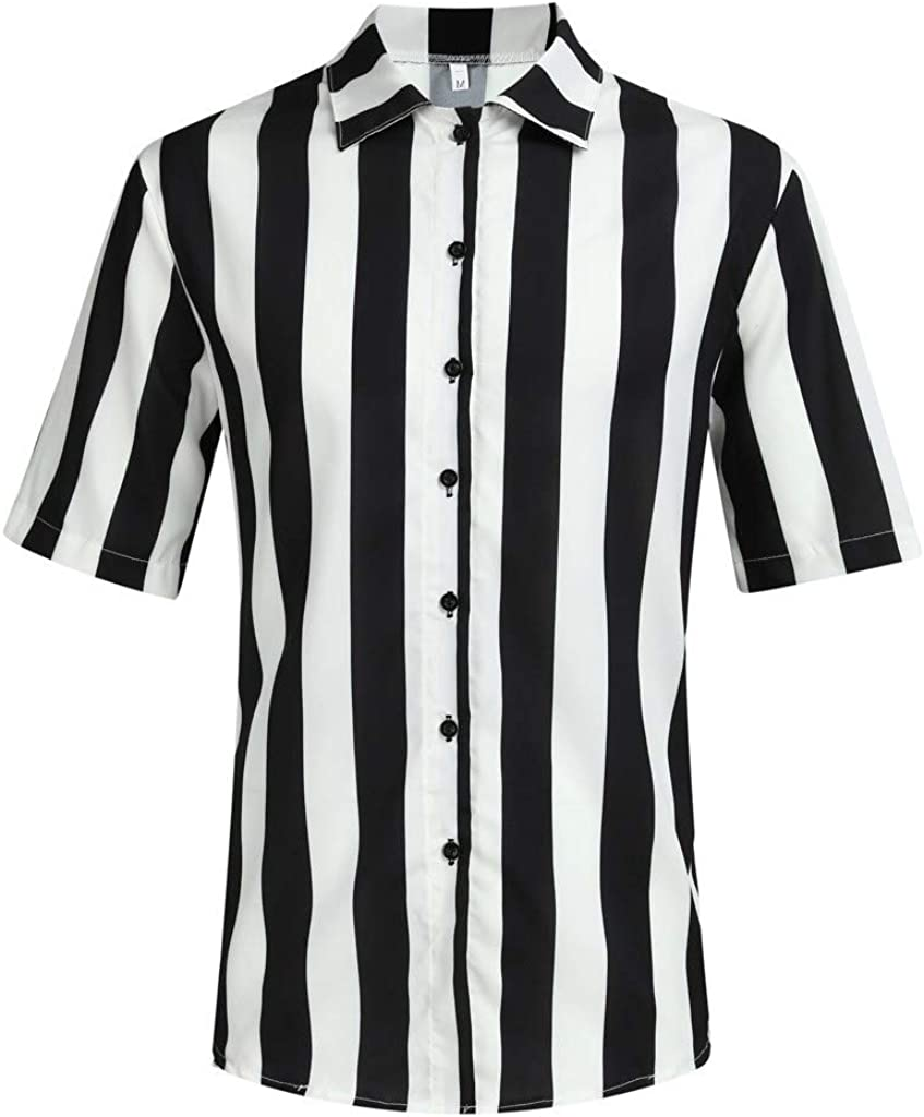 XuanhaFU Polo para Hombre de Manga Corta Casual Solapa Camisa de Gran Tamaño con Estampado de Rayas Blancas y Negras de Hawaii de Beach: Amazon.es: Ropa y accesorios