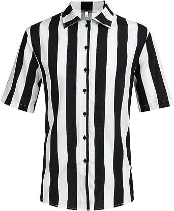 XuanhaFU Polo para Hombre de Manga Corta Casual Solapa Camisa de Gran Tamaño con Estampado de Rayas Blancas y Negras de Hawaii de Beach