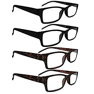 AllurEyes Reading Glasses 4 Pack Unisex Black and Tortoise Shell with Microfiber Pouches +2.0