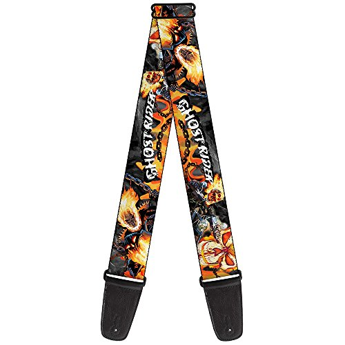 Buckle-Down Marvel Universe Guitar Strap-Ghost Rider 3-Riding Poses Skull Grays/Flames (GS-WGR002)