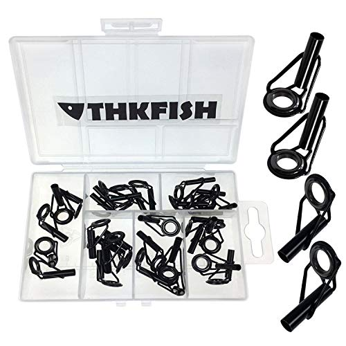 thkfish Rod Tip Repair Kit Rod Repair Kit Stainless Steel Ceramic Ring Guide Rod Repair Replacement Tip Tops Fishing Rod Repair kit 6Sizes 30pcs
