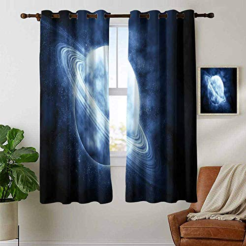 petpany backout Curtains for Bedroom Space,A Lone Planet in The Infinite Mysterious Universe Astronomy and Science Theme,Dark Blue White,Pocket Thermal Insulated Tie Up Curtain 42