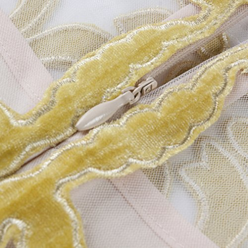 Dresses Scoop cotyledon Long Long Sleeve Mesh Yellow Dress Printed Neck Women`s TqXxXBwEO