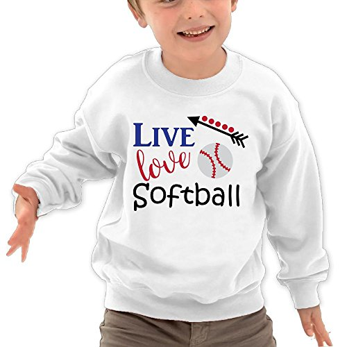Puppylol Live Love Softball Kids Classic Crew-neck Pullover Sweatshirt White 4 Toddler