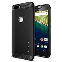 Nexus 6P Case, Spigen Rugged Armor Nexus 6P Case with Resilient Shock Absorption and Carbon Fiber Design for Nexus 6P 2015 - Black