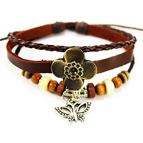 Real Spark Unisex Braided Wood Beaded Clover Butterfly Pendant Leather Wrap Bracelet Adjustable