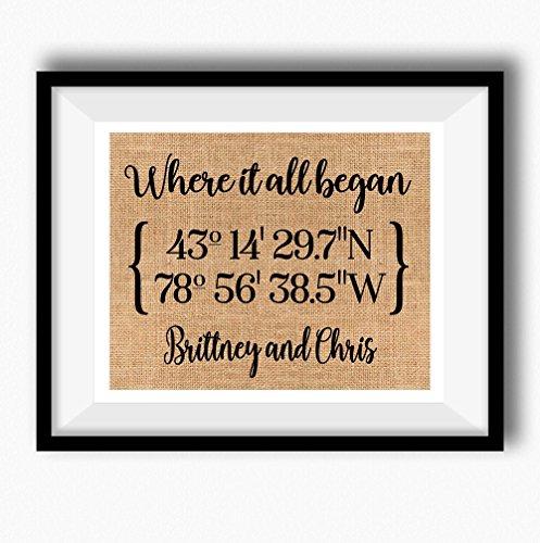 Wedding Invitation Time Frame - Where It All Began   Latitude Longitude GPS Coordinates   100 percent Burlap or Canvas Anniversary Gift   Where We Met   Wedding Location