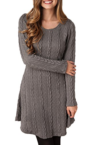Mulisky-Womens-Crewneck-Long-Sleeve-Knitted-Casual-Sweater-A-Line-Mini-Dress