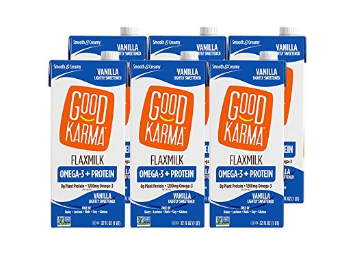 Good Karma Plant-Powered Flaxmilk, Vanilla Lightly Sweetened, 32 oz Shelf-Stable Carton (Pack of 6)Dairy-Free, Plant Based Milk Alternative