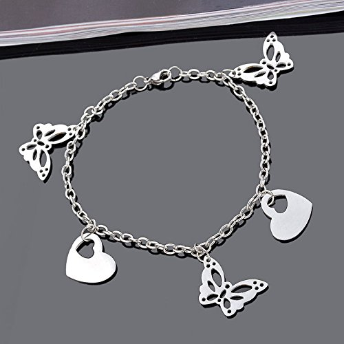 1PC 22cm Women Stainless Steel Silver Chain Bracelet With...