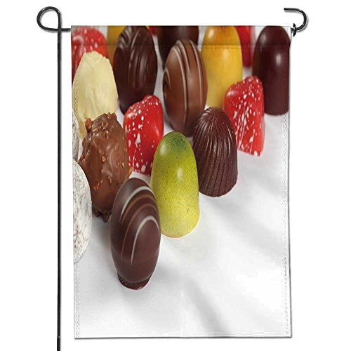 Filled White Chocolate - AmaPark Double Sided Polyester Garden Flag Photo of Assorted Truffles pralines and Liqueur Filled Chocolates on White Background Outdoor Home Garden Flower Pot Decor 12