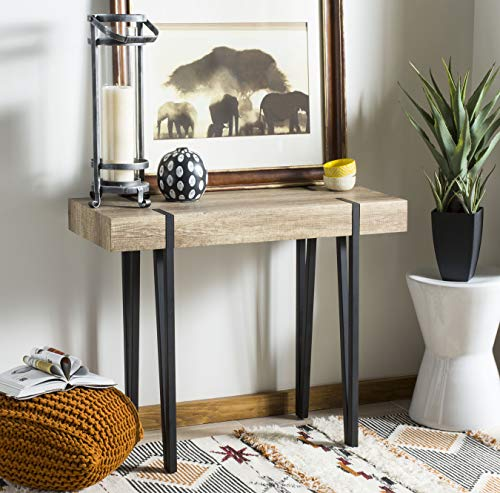 Safavieh CNS7000A Home Collection Alyssa Multi Brown Rectangular Rustic Midcentury Wood Top Console Table,