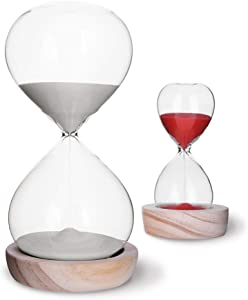 VISEMAN Hourglass Sand Timer Set-30 Minute & 5 Minute Timer Sets -Sand Clock Timers for Room Kitchen Office Decor -Time Management Tool with Wooden Base Stand