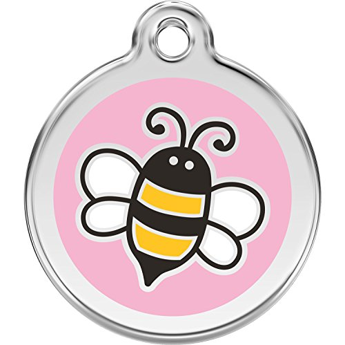Red Dingo Personalized Bumble Bee Pink Pet ID Dog Tag (Small)]()