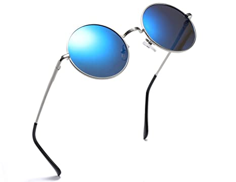 5103332f4e Amazon.com  MRODM Mirror Blue Circle Round Retro Hippie Polarized Sunglasses  for Women - Metal Frame Spring Hinged  Clothing