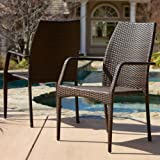 Outdoor Wicker Stacking Chairs | Set of 2 | Perfect For Patio | in Multibrown
