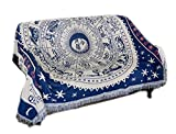 HugeHug Retro Astrolabe Constellation Sofa Slipcover Furniture Protector Home Decor Fringe Cotton (Navy White,70x70 inch)