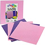 """SCS Direct Brick Building Base Plates - Large 10""""x10"""" Pink and Purple Baseplates (4pcs Multi Pack) - Dual Side Connectivity, Tight FIt w All Brands"""
