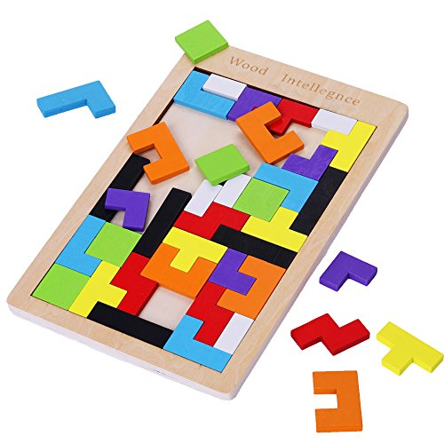 Subay Wooden Tetris Puzzle 40Pcs Colorful Tangram Brain Block Intelligence Puzzle for Preschool Children Playing