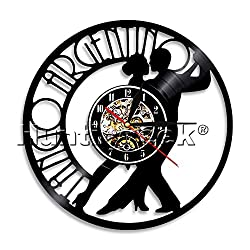 The Geeky Days Argentina Tango Wall Clock Dance Tango Vinyl Record Wall Clock Couple Dancer Social Dacing Moden Wal Decor Wall Gift for Dance Lover (Without LED)