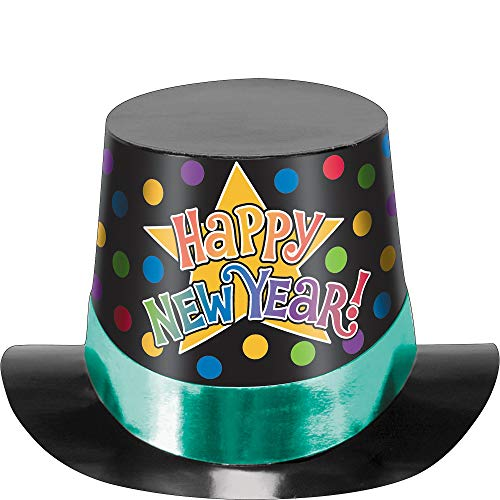 Hat New Happy Top Year (Amscan New Year Multicolored Printed Paper Top Hat | Party Accessory)